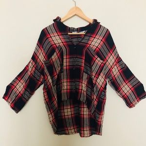 Zara button down plaid top